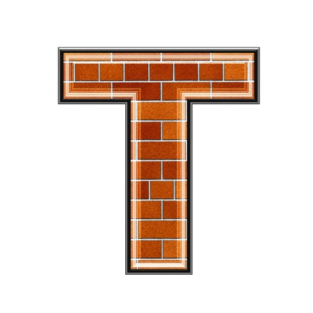textured wall: abstract 3d letter with brick wall texture - T