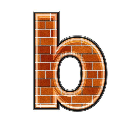 architecture alphabet: abstract 3d letter with brick wall texture - B