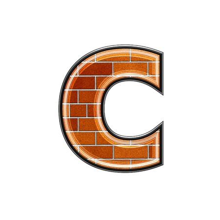 uppercase: abstract 3d letter with brick wall texture - C