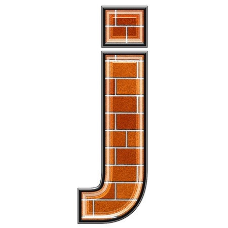 abstract 3d letter with brick wall texture - J photo