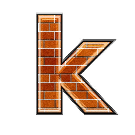 architecture alphabet: abstract 3d letter with brick wall texture - K Stock Photo