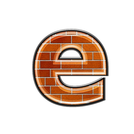 upper case: abstract 3d letter with brick wall texture - E Stock Photo