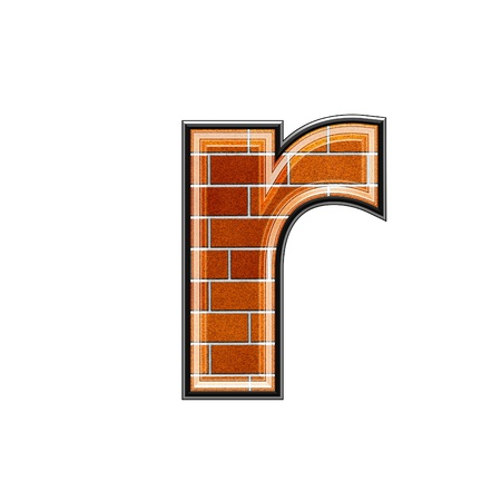 architecture alphabet: abstract 3d letter with brick wall texture - R