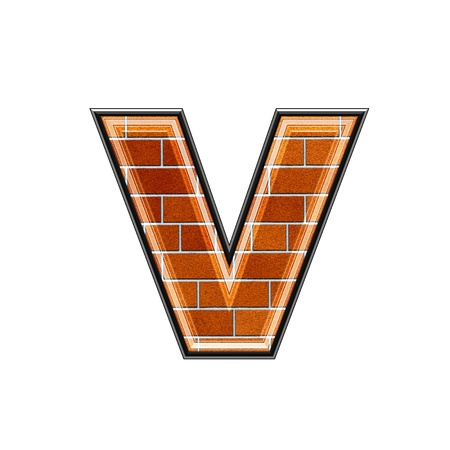 upper case: abstract 3d letter with brick wall texture - V