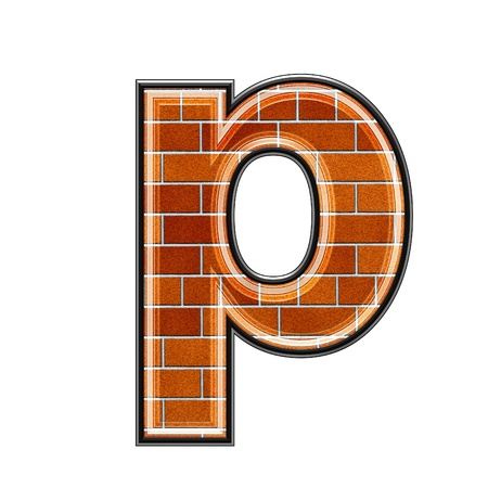 upper: abstract 3d letter with brick wall texture - P