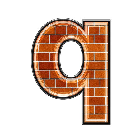 upper case: abstract 3d letter with brick wall texture - Q Stock Photo