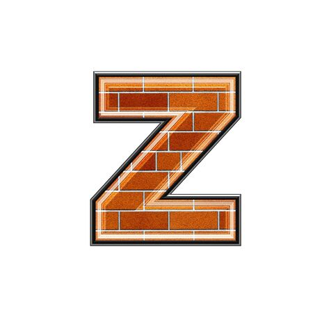 upper case: abstract 3d letter with brick wall texture - Z