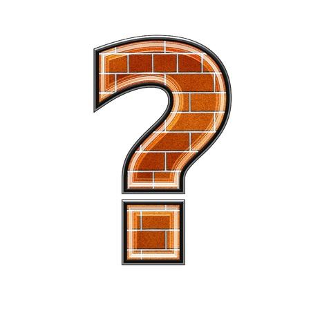point d interrogation: abstrait signe 3d avec mur de briques texture - point d'interrogation