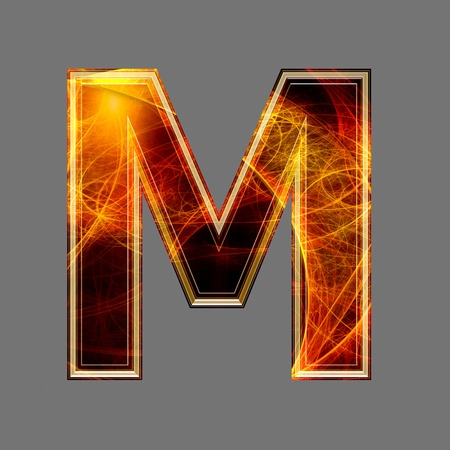 saturated color: 3d abstract and futuristic letter - M