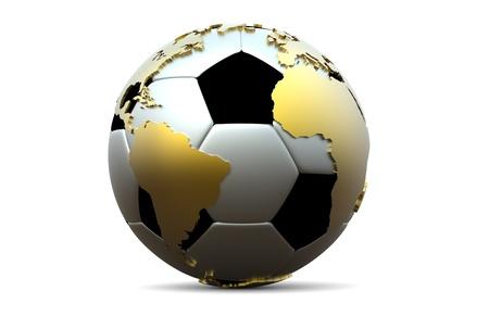 extruded: 3d pallone da calcio con oro continenti estrusi Archivio Fotografico
