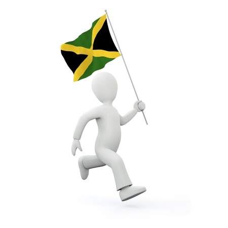 Illustration of a 3d man holding a jamaican flag