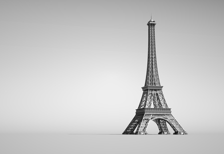 Eiffel Tower in Paris  3d illustration on a white background  Stock Photo