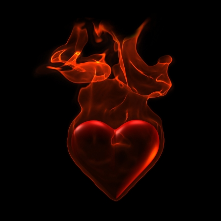 fervent: Ardent Heart in flame on grunge background