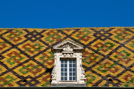 A Colored roof tile in dijon city - France Stock Photo