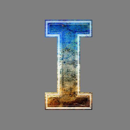 i net: grunge 3d  letter isolated on grey background - I Stock Photo