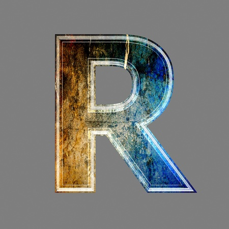 grunge 3d  letter isolated on grey background - R photo