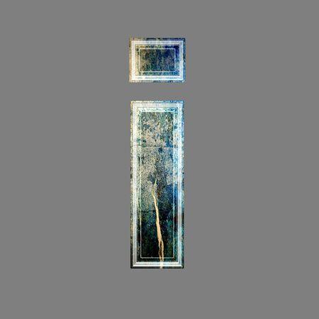 i net: grunge 3d  letter isolated on grey background - i