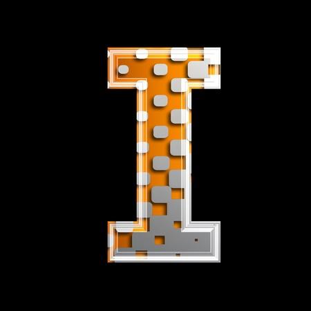 i net: halftone 3d letter isolated on black background - I