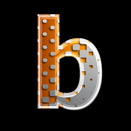 halftone 3d letter isolated on black background - B Stock Photo - 13233673