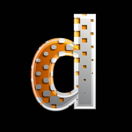 halftone 3d letter isolated on black background - D Stock Photo - 13233659