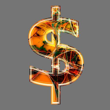 futuristic 3d dollar currency sign photo