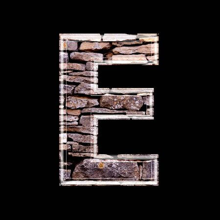 stone work: Stone wall 3d letter e