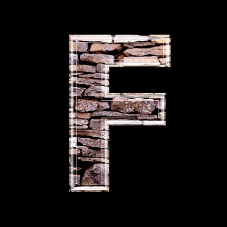 stone work: Stone wall 3d letter f