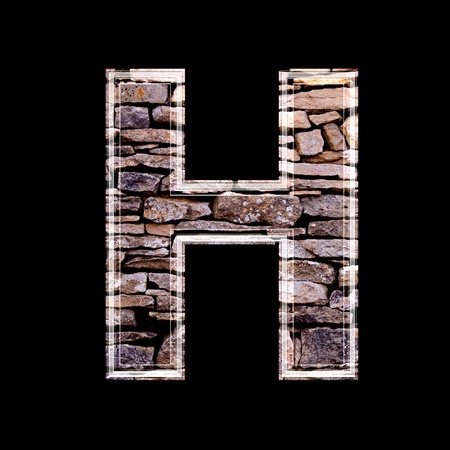 stone work: Stone wall 3d letter h
