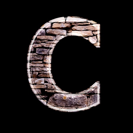 stone work: Stone wall 3d letter c Stock Photo
