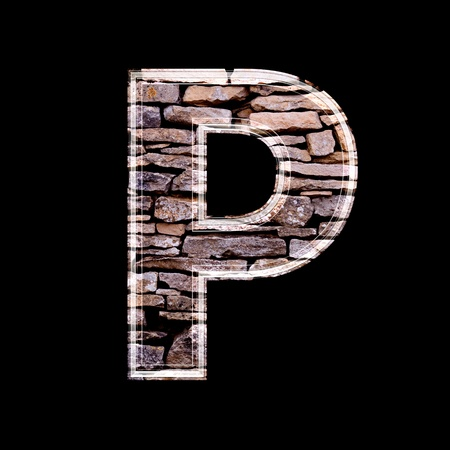 p buildings: Stone wall 3d letter p