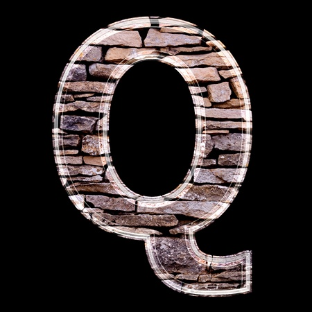 stone work: Stone wall 3d letter q Stock Photo