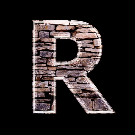stone work: Stone wall 3d letter r