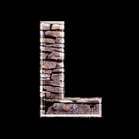 stone work: Stone wall 3d letter l