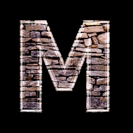 stone work: Stone wall 3d letter m