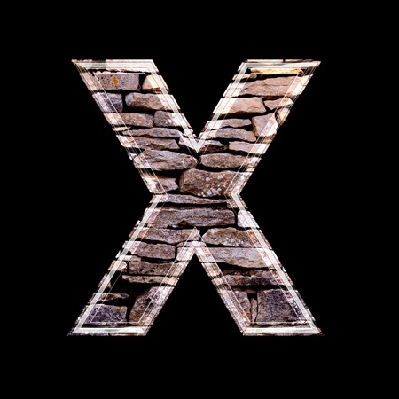 computergraphics: Stone wall 3d letter x Stock Photo