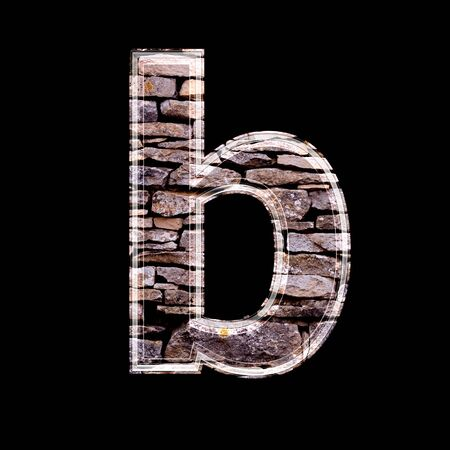 stone work: Stone wall 3d letter b