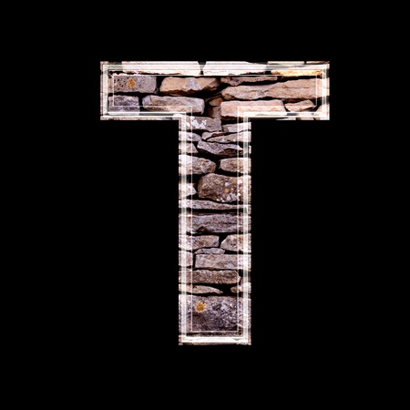 stone work: Stone wall 3d letter t