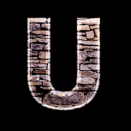 stone work: Stone wall 3d letter u