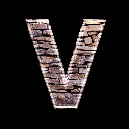 stone work: Stone wall 3d letter v