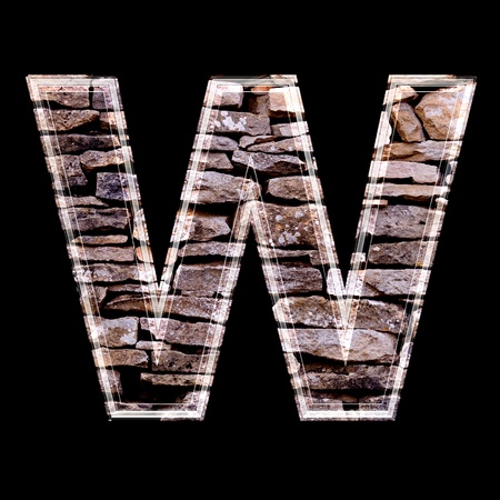stone work: Stone wall 3d letter w