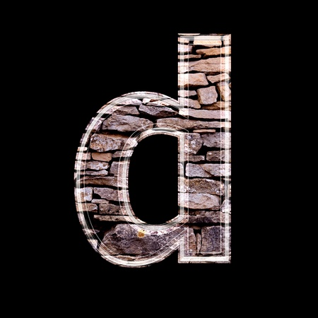 stone work: Stone wall 3d letter d