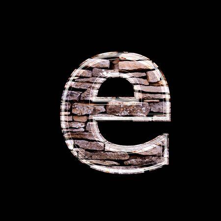 letter case: Stone wall 3d letter e