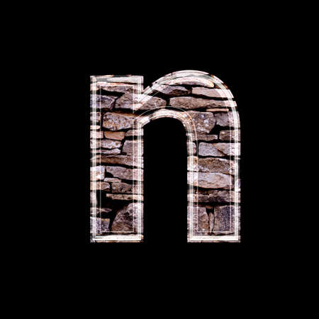 stone work: Stone wall 3d letter n
