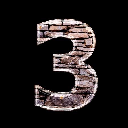 computergraphics: Stone 3d digit 3 Stock Photo