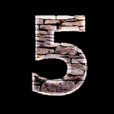computergraphics: Stone 3d digit 5 Stock Photo
