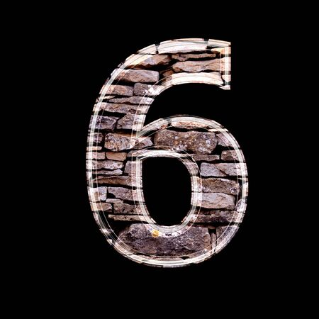 computergraphics: Stone 3d digit 6