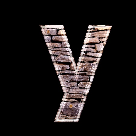stone work: Stone wall 3d letter y