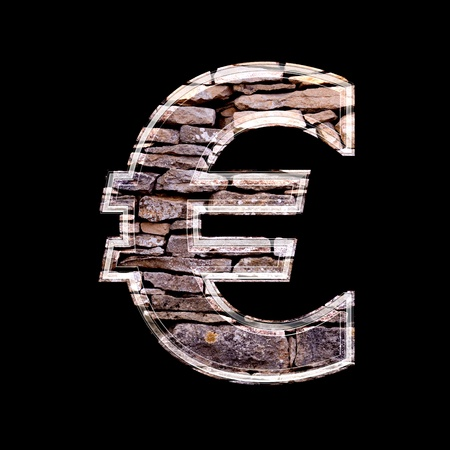 computergraphics: 3d euro currency sign with stone wall texture