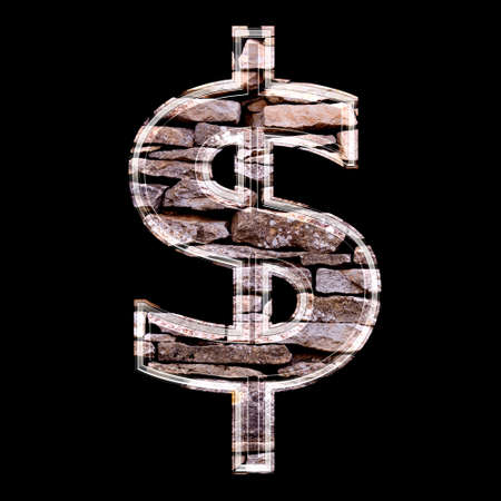 3d dollar currency sign with stone wall texture photo