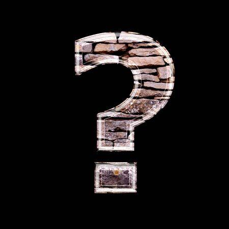 point d interrogation: Point d'interrogation 3d avec mur de pierre texture